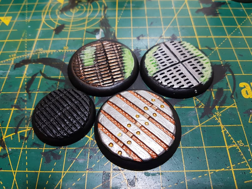 Bases undercoated and painted